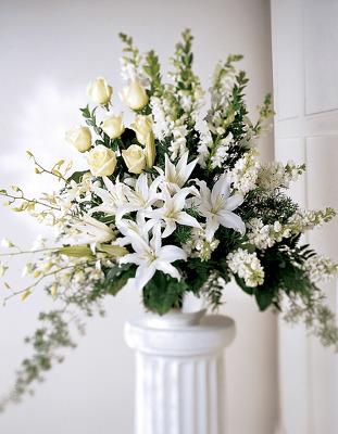 All white traditonal Lily arrangement S121 from Fabbrini's Flowers in Hoffman Estates, IL