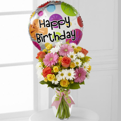 Birthday vase arrangement with mylar balloon B200