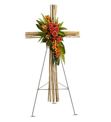 Fall bamboo cross standing arrangement S161 from Fabbrini's Flowers in Hoffman Estates, IL