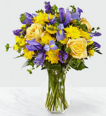 ES106 Vase of purple iris yellow roses and pomps from Fabbrini's Flowers in Hoffman Estates, IL