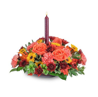 F111 fall traditional 1 candle centerpiece from Fabbrini's Flowers in Hoffman Estates, IL