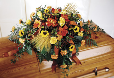 Fall casket spray S100 from Fabbrini's Flowers in Hoffman Estates, IL
