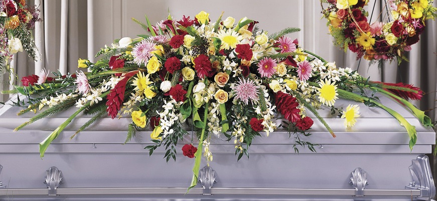 Full length casket spray S110 from Fabbrini's Flowers in Hoffman Estates, IL