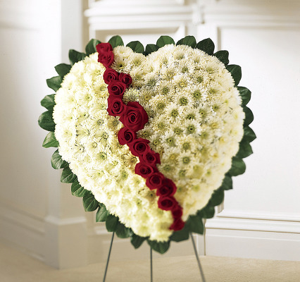 Broken heart white pomps and red roses S168 from Fabbrini's Flowers in Hoffman Estates, IL