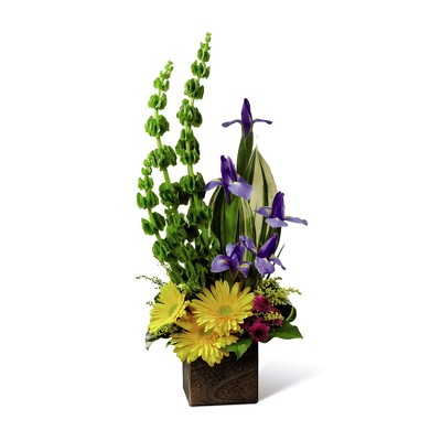 M111 linear wooden box arrangement from Fabbrini's Flowers in Hoffman Estates, IL