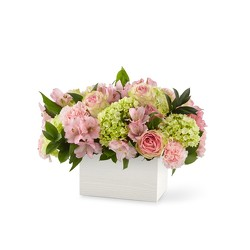 M115 pastel flowers in wooden container from Fabbrini's Flowers in Hoffman Estates, IL