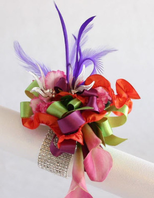 WRIST CORSAGE PINK CALLA  LILIES PC102 from Fabbrini's Flowers in Hoffman Estates, IL