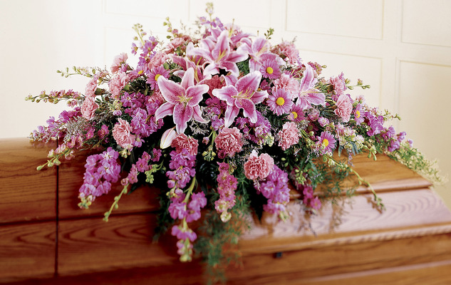 Pink and lavender casket spray S104 from Fabbrini's Flowers in Hoffman Estates, IL
