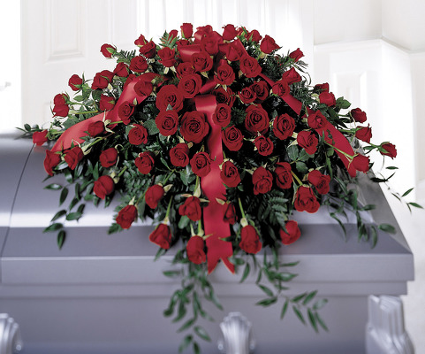 Red rose casket spray S105 from Fabbrini's Flowers in Hoffman Estates, IL