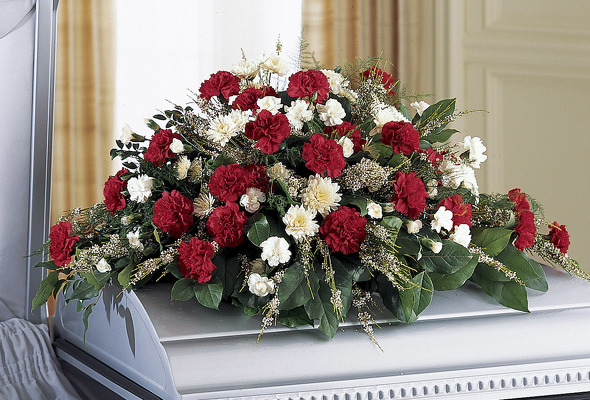 Red and white casket spray S107 from Fabbrini's Flowers in Hoffman Estates, IL