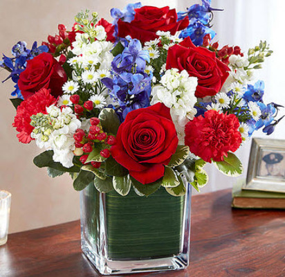 S251 Greater glory cube vase arrangement from Fabbrini's Flowers in Hoffman Estates, IL