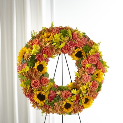 S153 Golden Autumn wreath from Fabbrini's Flowers in Hoffman Estates, IL