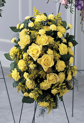 Easel spray yellow roses and carnations S144 from Fabbrini's Flowers in Hoffman Estates, IL