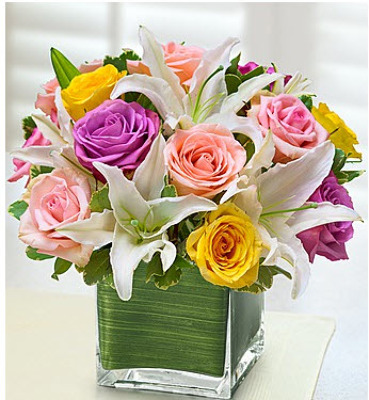 Square lilies roses colorful E101