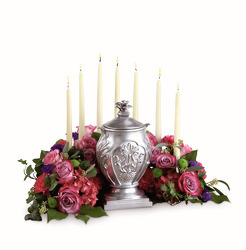 Urn flowers with candles S182 from Fabbrini's Flowers in Hoffman Estates, IL