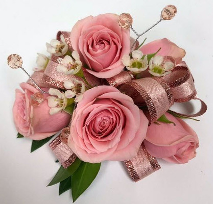 WC100 Pink Spray Rose Wrist Corsage from Fabbrini's Flowers in Hoffman Estates, IL