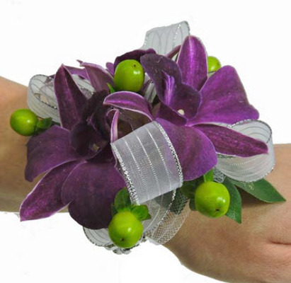 WC103 Plum Dendrobium Orchid Wrist Corsage from Fabbrini's Flowers in Hoffman Estates, IL