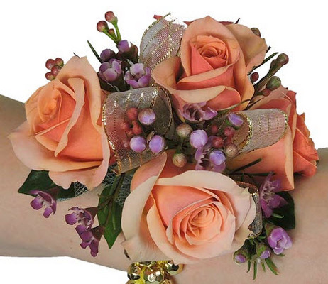 WC104 Peach Spray Rose Wrist Corsage from Fabbrini's Flowers in Hoffman Estates, IL