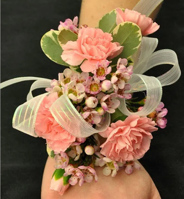 WC106 Light Pink Mini Carnation Wrist Corsage from Fabbrini's Flowers in Hoffman Estates, IL