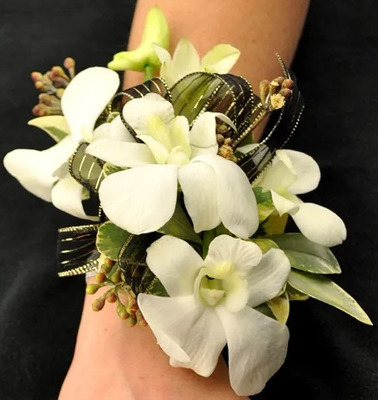WC108 White Dendrobium Orchid Wrist Corsage from Fabbrini's Flowers in Hoffman Estates, IL