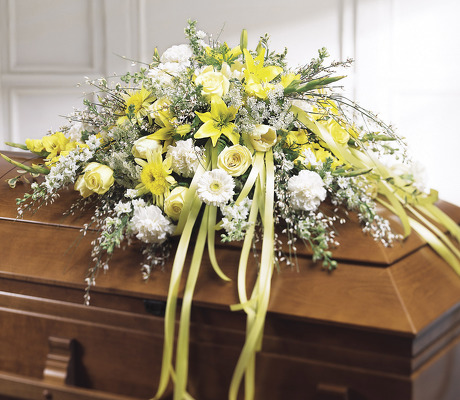 Yellow and white casket spray S108 from Fabbrini's Flowers in Hoffman Estates, IL