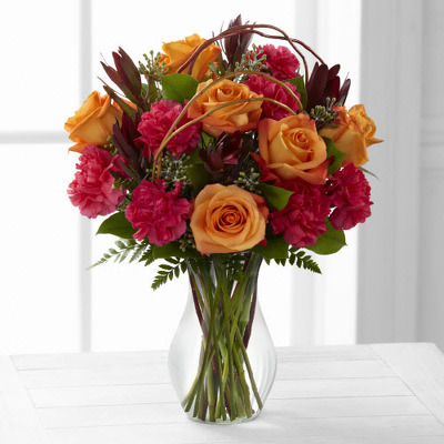 Fall vase with roses carnations F110 from Fabbrini's Flowers in Hoffman Estates, IL