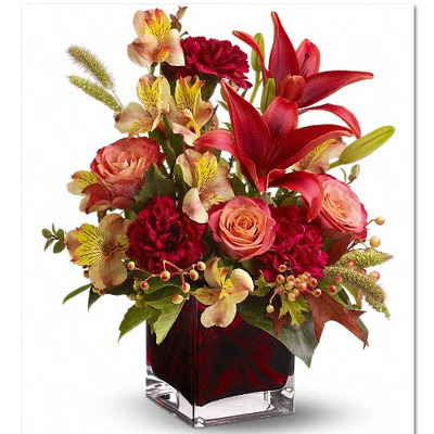 Fall square vase roses lilies F109 from Fabbrini's Flowers in Hoffman Estates, IL