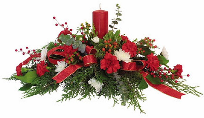 Christmas Long and Low with pillar candle C102 from Fabbrini's Flowers in Hoffman Estates, IL