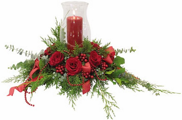 Christmas Hurricane Centerpiece C101 from Fabbrini's Flowers in Hoffman Estates, IL