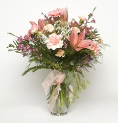 Pink and white vase arrangement B209 from Fabbrini's Flowers in Hoffman Estates, IL