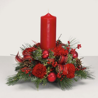 Pillar candle round Christmas centerpiece C110 from Fabbrini's Flowers in Hoffman Estates, IL