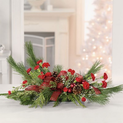 Christmas long and low centerpiece C109 from Fabbrini's Flowers in Hoffman Estates, IL