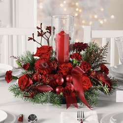 Christmas Centerpiece with pillar candle and hurricane C107 from Fabbrini's Flowers in Hoffman Estates, IL