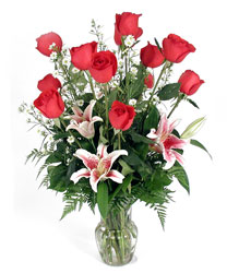 Dozen red roses with stargazer lilies V101 from Fabbrini's Flowers in Hoffman Estates, IL