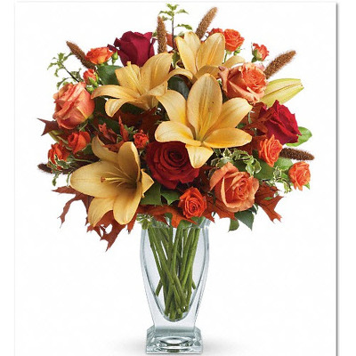 Tall mixed fall vase F107 from Fabbrini's Flowers in Hoffman Estates, IL